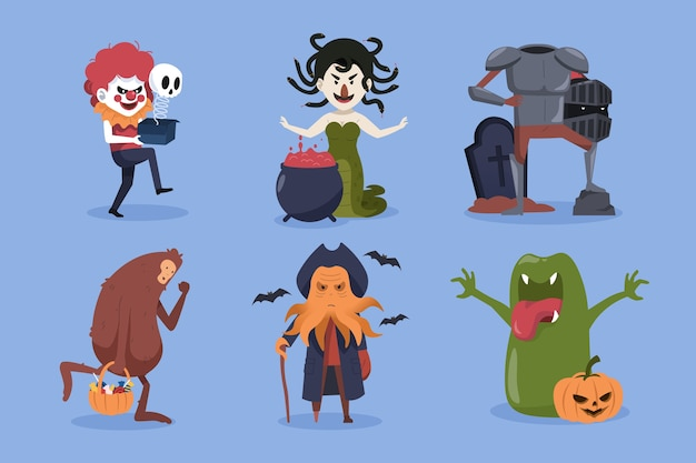 Halloween-tekencollectie. clown, medusa, bigfoot en monsters