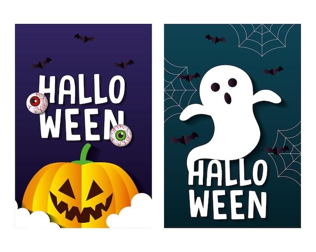 Halloween-tekenfilms in frames decorontwerp, vakantie en eng thema