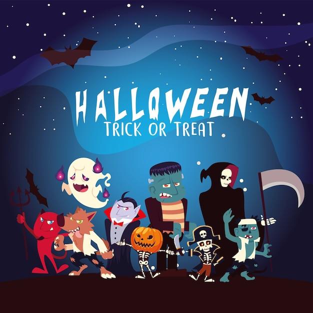 Halloween-tekenfilms met maan en vleermuizen bij nachtontwerp, vakantie en enge themaillustratie