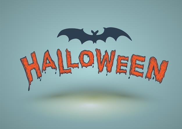 Halloween-tekst met knuppel voor de kaart en de affiche van halloween wordt getrokken die.