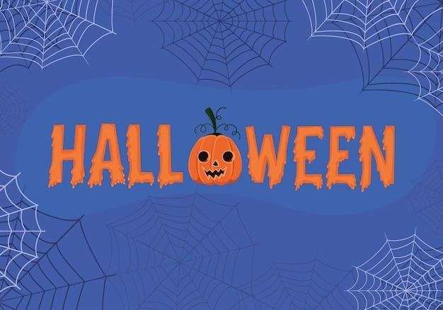 Halloween-tekst met pompoenbeeldverhaal en spinnenwebbenontwerp, vakantie en eng thema