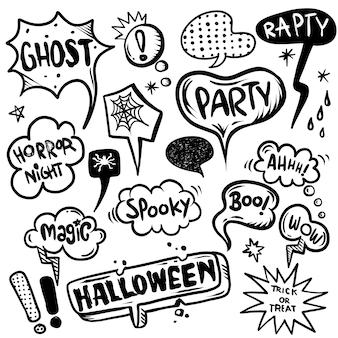 Halloween-tekstballonnen met tekst worden geplaatst die.