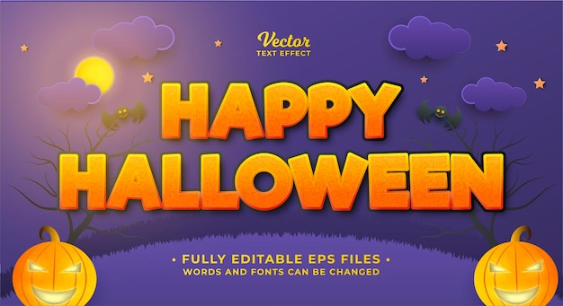 Halloween-teksteffect geïsoleerd op paarse bewerkbare eps cc