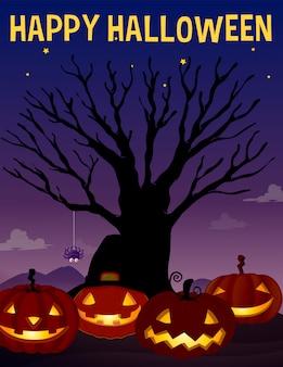 Halloween-thema met boom en pompoenen
