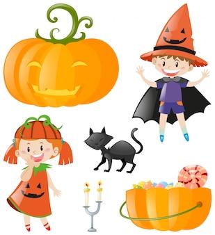 Halloween-thema met jonge geitjes en pompoen