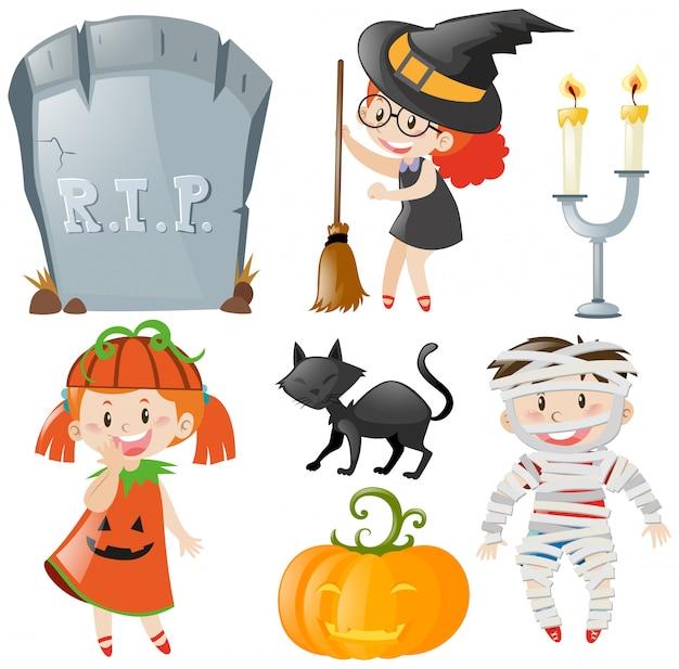 Halloween-thema met kinderen in kostuums