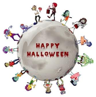 Halloween-thema met zombies rond de maan