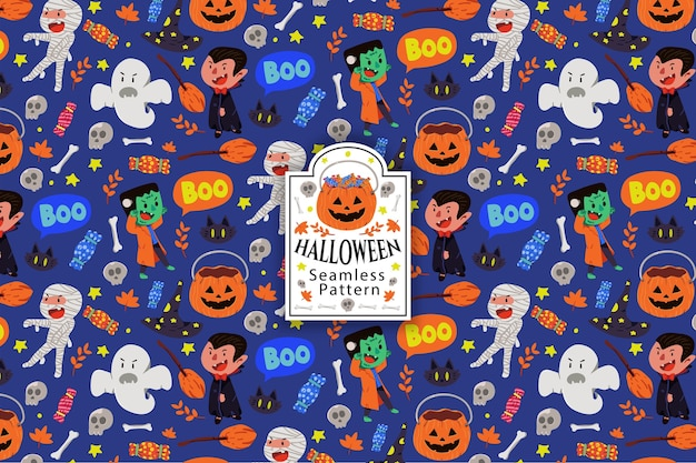 Halloween thema naadloze patroon collectie