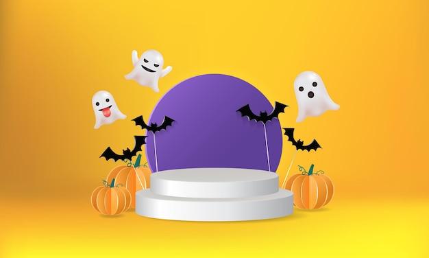 Halloween thema podium podium scène versierd met pompoen vleermuis en schattige spook realistische vector