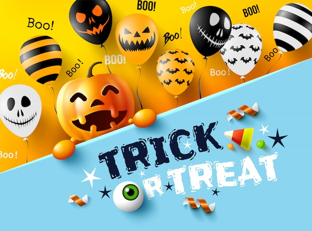 Halloween trick or treat met happy halloween-pompoen