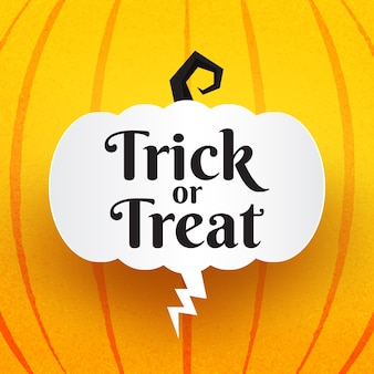 Halloween trick or treat-tekst met enge halloween-ballonnen en bellentoespraak die op een oranje achtergrond spreekt.