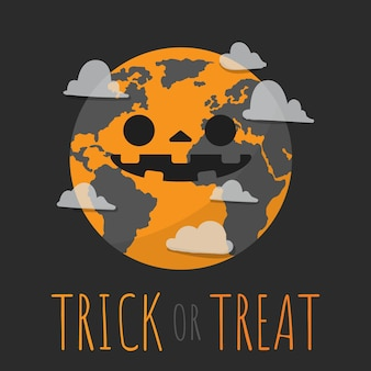 Halloween, trick or treat with earth in halloween costumed.