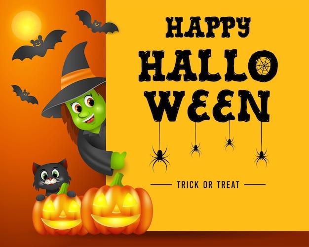 Halloween-uithangbord, vrouw in halloween-kostuum, zwarte kat en pompoenen.