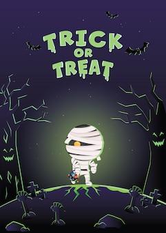 Halloween uitnodigingskaart. halloween-kostuummonster op het kerkhof.