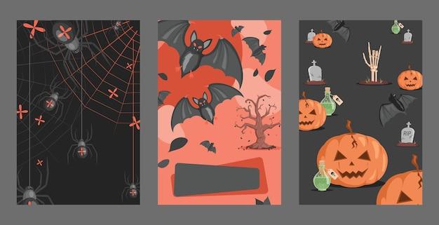 Halloween-uitnodigingskaarten ontwerpen spinnen op webben vleermuizen vergiftigen graven