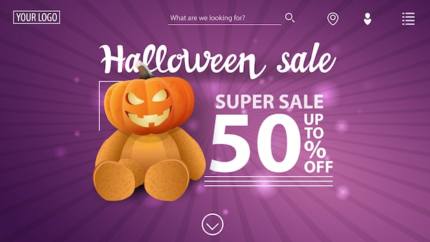 Halloween uitverkoop, -50% korting, paarse moderne banner met teddybeer met pompoenhoofd van jack