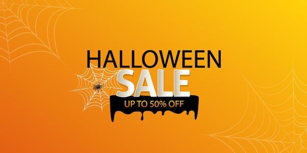 Halloween-uitverkoop banner wenskaart cadeaukaart promotie na verkoop of feestuitnodiging oranje