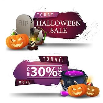 Halloween-uitverkoop, kortingsbanners met grafsteen, heksenpot en pompoen jack