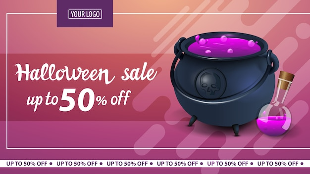 Halloween-uitverkoop, tot 50% korting, moderne horizontale roze kortingsbanner met heksenpot met drankje