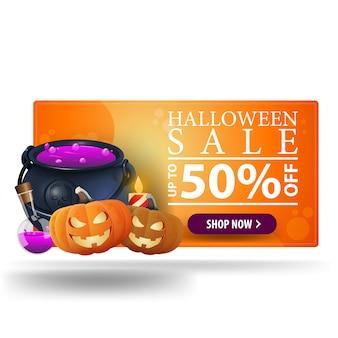 Halloween uitverkoop, tot 50% korting, oranje moderne 3d-banner met heksenpot en pompoen jack
