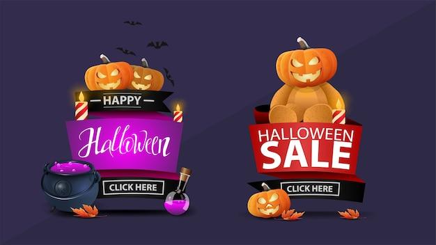 Halloween-uitverkoop, twee kortingsbanners in de vorm van linten met pompoen jack, ketel met toverdrank, esdoornbladeren