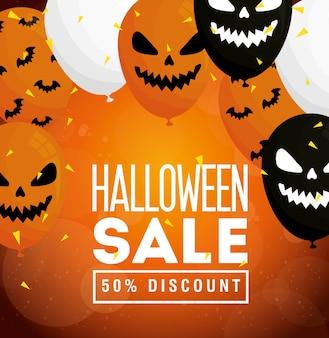 Halloween-uitverkoop, vijftig procent korting, met enge ballonnen heliumdecoratie