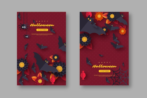 Halloween vakantie achtergrond. papier gesneden stijl vliegende vleermuizen, snoep, bloemen en spinnen. paarse kleur achtergrond met begroeting, vectorillustratie.