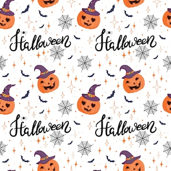 Halloween-vakantie naadloze patroonachtergrond met handtekeningselementen - pompoen, spook, kat en schedel. vector illustratie