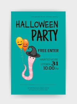 Halloween-vakantiekaart met worm. cartoon-stijl. vector illustratie.