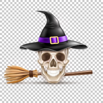 Halloween-vakantiesymbool realistische schedel in heksenhoed