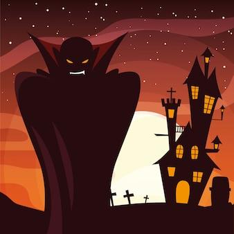 Halloween-vampier op cementery