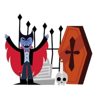 Halloween-vampierbeeldverhaal en doodskist, prettige vakantie en eng