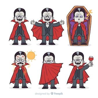 Halloween-vampierkarakterinzameling in verschillende posities
