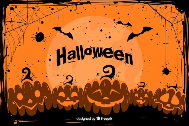 Halloween van grunge achtergrond met leger van pompoenen