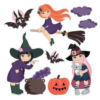 Halloween vector illustratie set Premium Vector