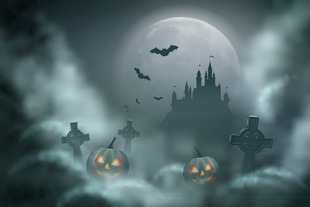 Halloween vector nachtscène met volle maan in een bewolkte nacht