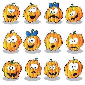 Halloween vectorillustratie met veel pompoenen