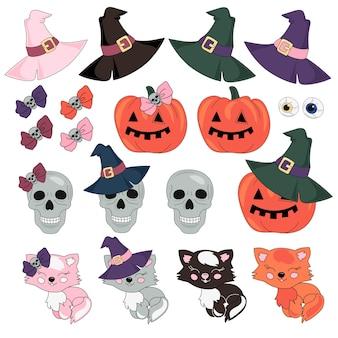 Halloween-vectorillustratieset masquerade Premium Vector