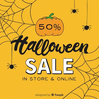Halloween-verkoop achtergrondhand getrokken stijl