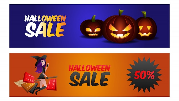 Halloween verkoop banner set. heks en pompoen