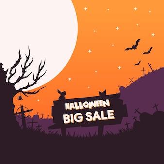 Halloween verkoop banner sjabloon illustratie in plat ontwerp