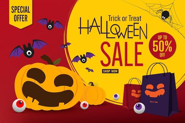 Halloween verkoop banner vector ontwerp halloween pompoenen en boodschappentas op donkere achtergrond voor greet