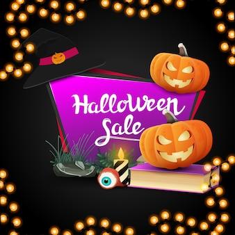 Halloween-verkoop, geometrische roze banner in de vorm van een vierhoekige scherpe plaat met spellboek en pompoen jack