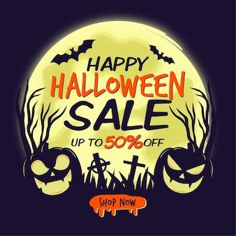 Halloween-verkoop in plat ontwerp