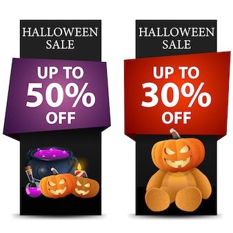 Halloween-verkoop, kortings verticale zwarte banner