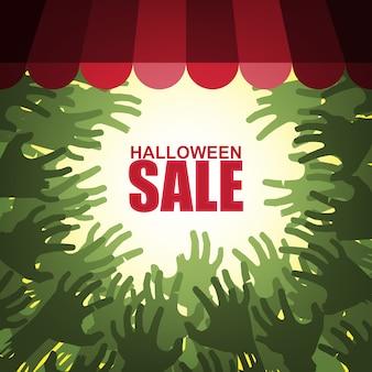 Halloween-verkoop met groep die van handen van zombieën winkelvenster aanvallen