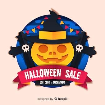 Halloween-verkoop met heksachtige pompoen