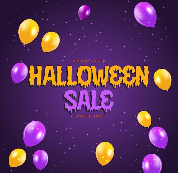 Halloween verkoop poster met ballonnen op paarse achtergrond. vectorillustratie. eps10
