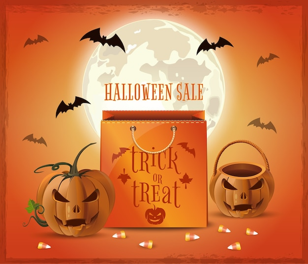 Halloween verkoop posterontwerp. halloween winkelen. snoep of je leven.