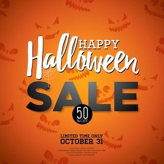 Halloween verkoop vector illustratie met vakantie elementen op oranje achtergrond. ontwerp voor offerte, coupon, banner, voucher of promotie poster